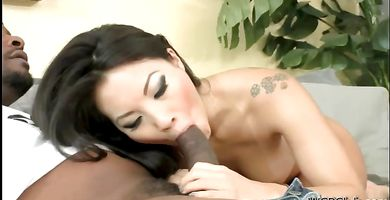 Sex appeal brunette Asa Akira is booty banged by a muscular lover